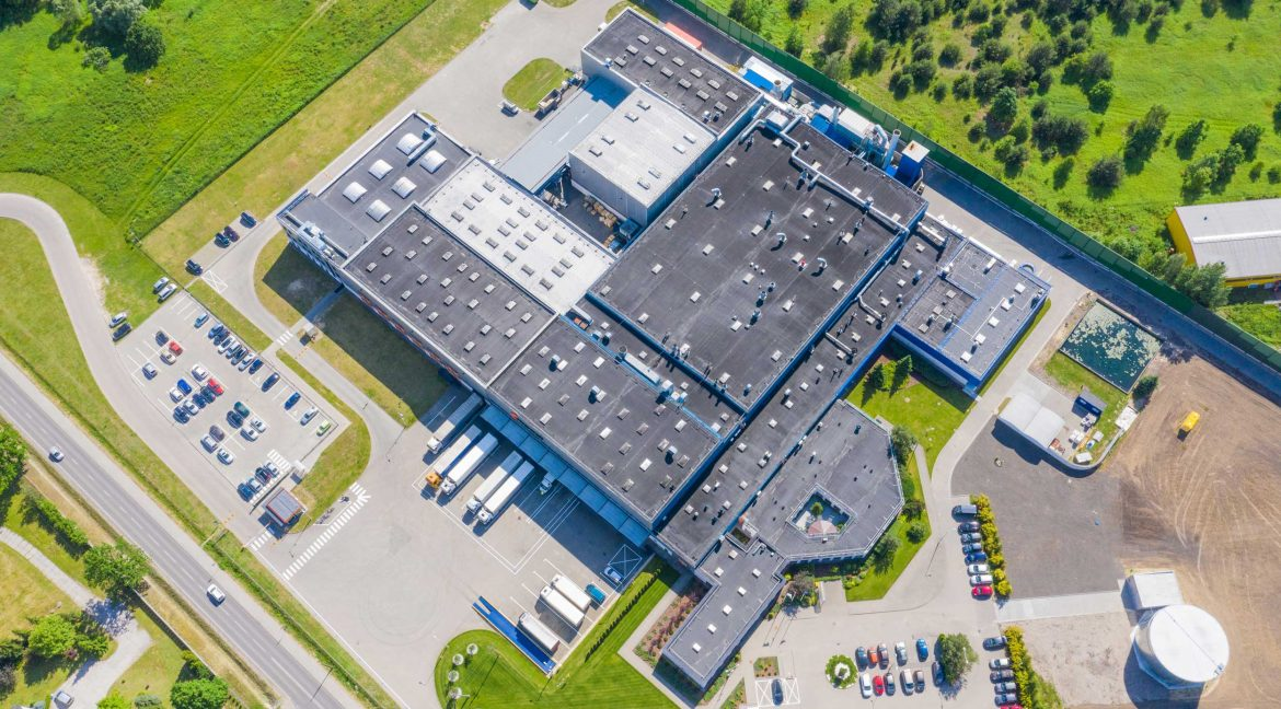 exterior aerial view of a warehouse space