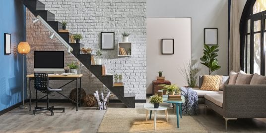 An industrial space that's been converted into a modern, charming apartment.