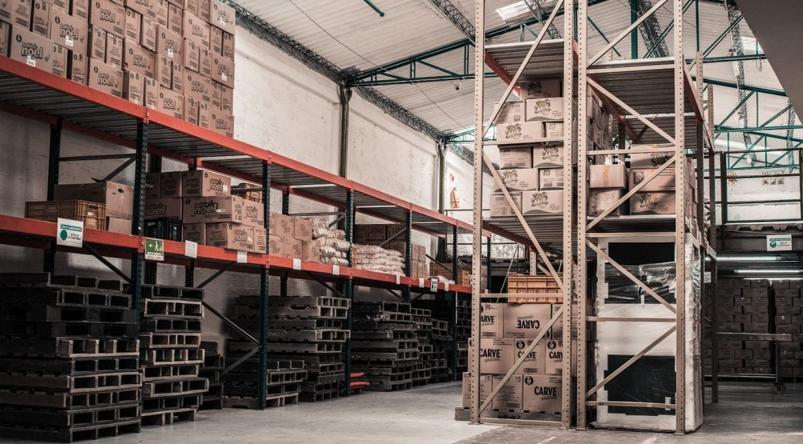 Warehouse building filled with shelves and boxes